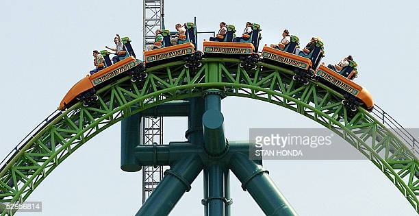 RECORD Riders reach the summit of the 'Kingda Ka' roller coaster 19 May at Six Flags amusement park in Jackson New Jersey The monster ride uses a...