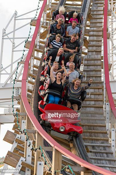 Riders scream on a ride at Stockholm's Grona Lund