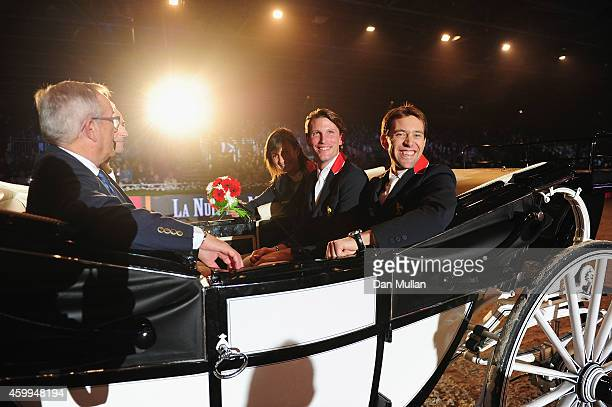 Riders Simon Delestre Kevin Staut and Penelope Leprevost attend 'La Nuit des Masters' Gala as part of the Gucci Paris Masters 2014 on December 4 2014...