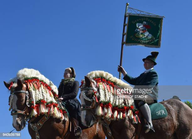 Riders sits on decorated horses during the traditional St Georgi Ride on Easter Monday on April 2 in Traunstein southern Germany The annual ride is a...
