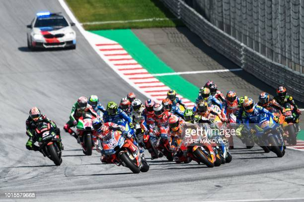 Riders start at the Austrian MotoGP Grand Prix race at the Red Bull Ring in Spielberg Austria on August 12 2018