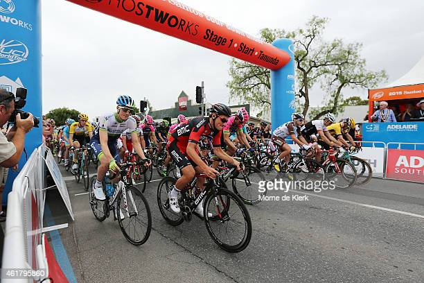Riders start Stage 1 of the 2015 Santos Tour Down Under on January 20 2015 in Adelaide Australia