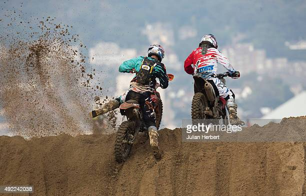 Riders tackle a dune during The Adult Solo Class during the RHL Weston Beach Race held on the beach at WestonSuperMare on October 11 2015 in...