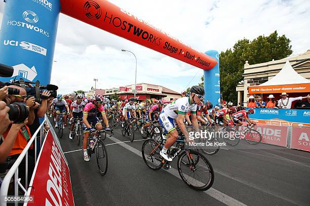 Riders take off at the start of stage 1 of the 2016 Tour Down Under from Prospect to Lyndoch on January 19 2016 in Adelaide Australia