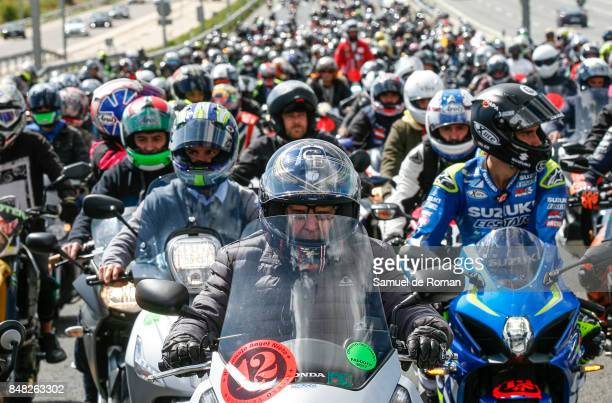 Riders take part in a Funeral Tribute For Angel Nieto on September 16 2017 in Madrid Spain