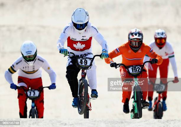 Riders take part in the official training session during day three of the UCI BMX World Championships at BMX Velopark on June 7, 2018 in Baku,...