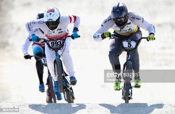 Riders take part in the official training session during day three of the UCI BMX World Championships at BMX Velopark on June 7 2018 in Baku...