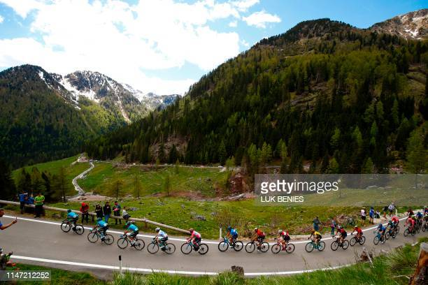 Riders take the ascent of the Manghen pass during stage twenty of the 102nd Giro d'Italia Tour of Italy cycle race 194kms from Feltre to Croce...