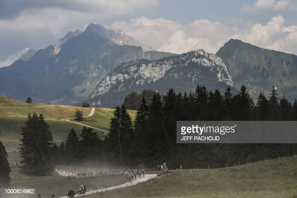 Riders take the ascent of the Plateau des Glieres during the tenth stage of the 105th edition of the Tour de France cycling race between Annecy and...