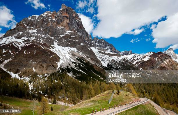 Riders take the ascent of the Rolle pass during stage twenty of the 102nd Giro d'Italia Tour of Italy cycle race 194kms from Feltre to Croce...