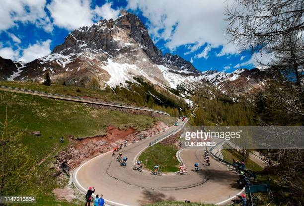 TOPSHOT Riders take the descent of the Rolle pass during stage twenty of the 102nd Giro d'Italia Tour of Italy cycle race 194kms from Feltre to Croce...
