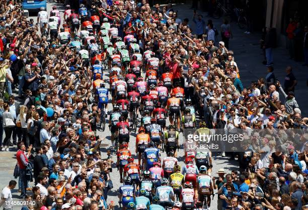 Riders take the start of stage twelve of the 102nd Giro d'Italia - Tour of Italy - cycle race, 158kms from Cuneo to Pinerolo on May 23, 2019.