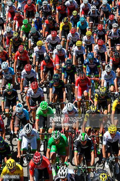 Riders take the start of the 1605 km fifth stage of the 104th edition of the Tour de France cycling race on July 5 2017 between Vittel and La Planche...