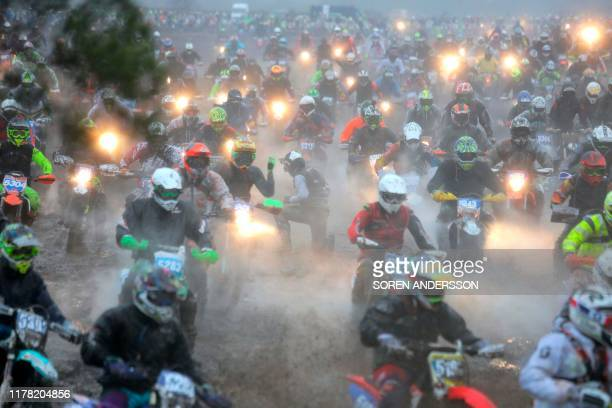 Riders take the start of the 2019 Gotland Grand National enduro motorcycling competition on October 26 2019 at Tofta airport in Visby / Sweden OUT