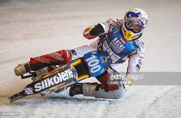 Riders test the ice ahead of the Ice Speedway World Championships on March 11 2016 in Assen Netherlands