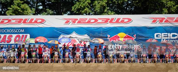 Riders wait for the 450MX race at the starting line in action during the 2018 Red Bull RedBud National races on July 7 2018 at RedBud MX Tack in...