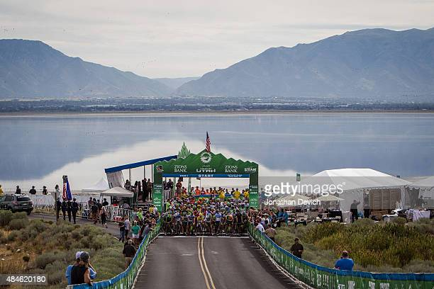 Riders wait for the start of stage 3 of the Tour of Utah on August 5 2015 in Antelope Island State Park Utah
