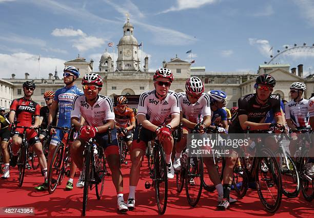 Riders wait on Horse Guards Parade at the start, ahead of the Ride London - Surrey Classic road cycle race in central London on August 2, 2015. AFP...