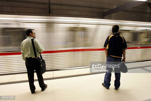Riders wait to board as a train arrives at the subway stop at Pershing Square on April 25 2006 in Los Angeles California As gasoline prices soar Los...