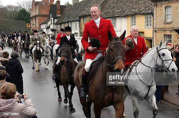 Riders with the Avon Vale Hunt follow the hounds as they ride out for their traditional Boxing Day hunt on December 26 2012 in Lacock England As...