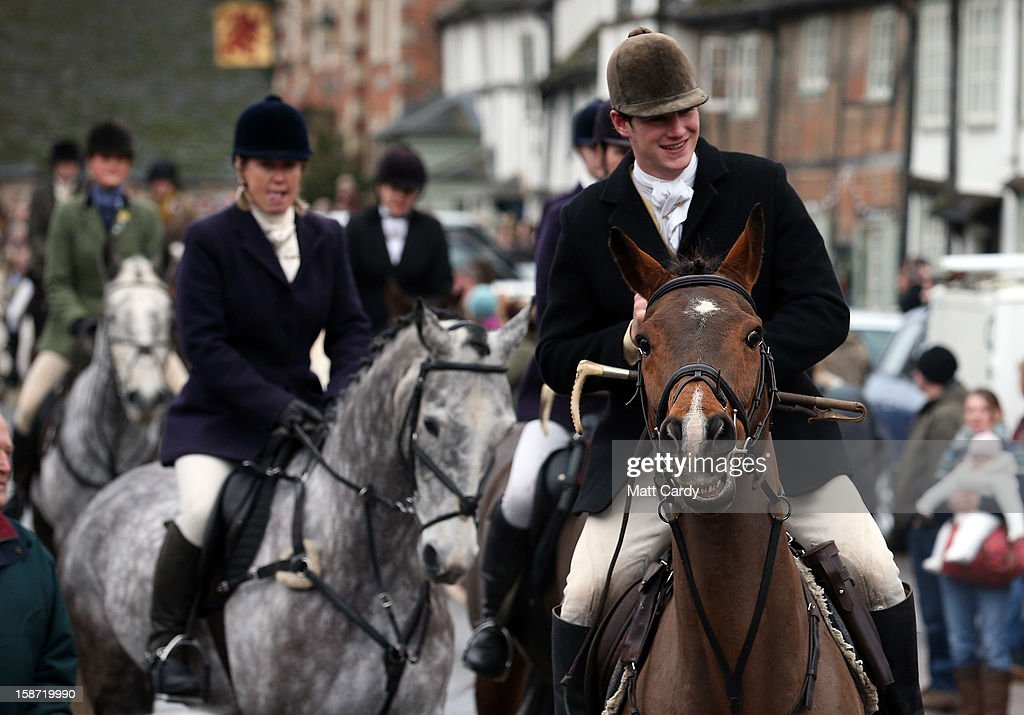 Riders with the Avon Vale Hunt, follow the hounds as they ride out for their traditional Boxing Day hunt, on December 26, 2012 in Lacock, England. As hundreds of hunts met today, Environment Secretary Owen Paterson claimed that moves to repeal the ban on hunting with dogs in England and Wales may not happen in 2013, although he insisted it was still the government's intention to give MPs a free vote on lifting the ban.