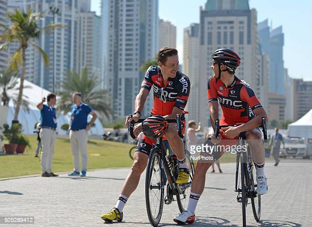 BMC ridersRick Zabel and Marcus Burghardt chat ahead the last 123kms Burj stage of the DUbai Tour 2015 7th February 2015 Picture by Artur...