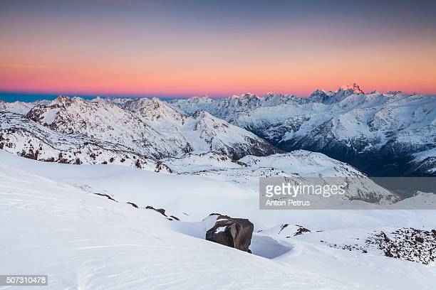 Ridge at sunset. View from the slope of Mount Elbrus, Caucasus