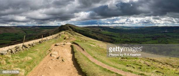 ridge walk from mam tor to lose hill, peak district, england - march month stock photos and pictures