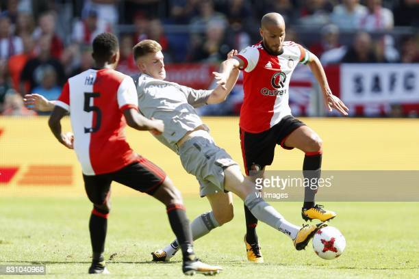 Ridgeciano Haps of Feyenoord Marko Kvasina of FC Twente Karim El Ahmadi of Feyenoord during the Dutch Eredivisie match between Feyenoord Rotterdam...