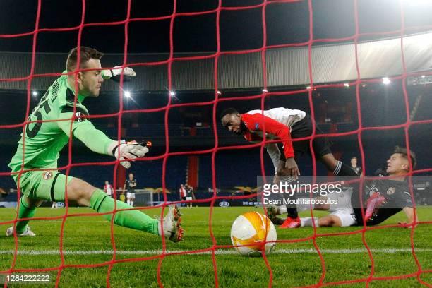 Ridgeciano Haps of Feyenoord Rotterdam scores his teams first goal past Goalkeeper, Igor Akinfeev of CSKA Moscow during the UEFA Europa League Group...
