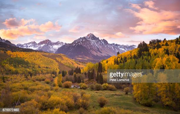 ridgway sneffles mountain peak autumn - aspen colorado stock photos and pictures