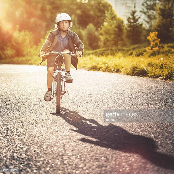 Riding a bike in the park