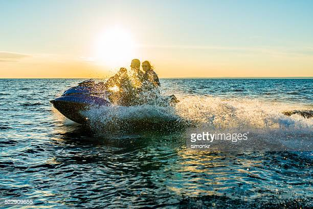 Riding A Jet Boat At Sunset