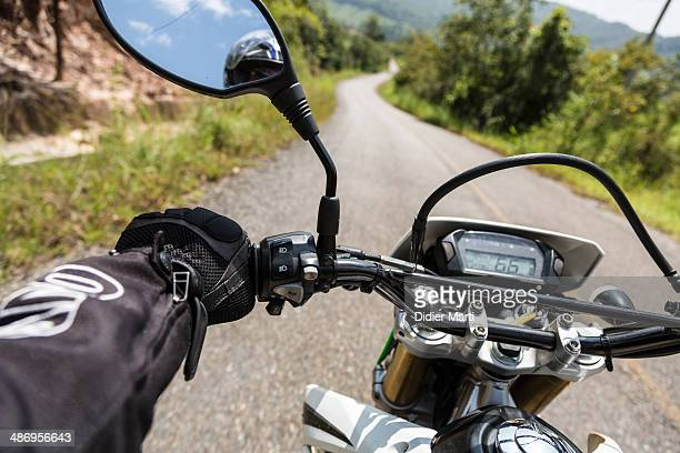 Riding a motorcycle in North Thailand near Chiangmai