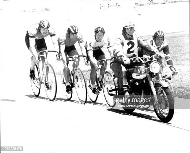 Riding behind a pace setter ridden by Keith Oliver Senior is from left Bob Daley Carl Wilson Keith Oliver and Bob WhettersCyclists were practicing at...