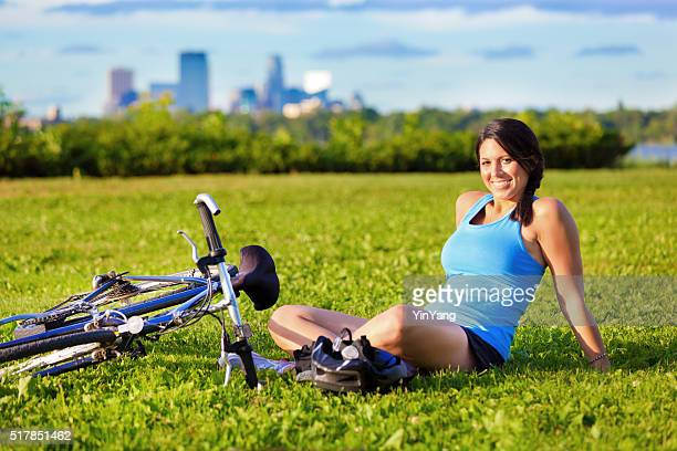 Riding Bicycle for Healthy Exercise in the Urban City Park