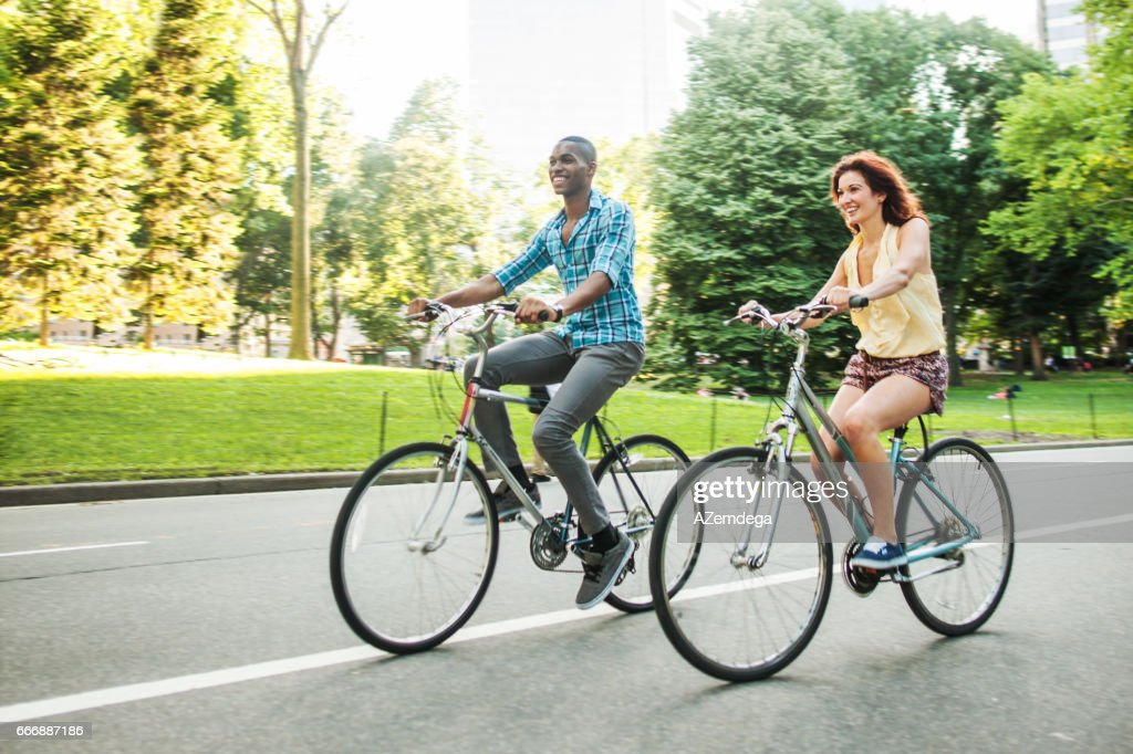 Riding bicycles at Central Park : Stock Photo
