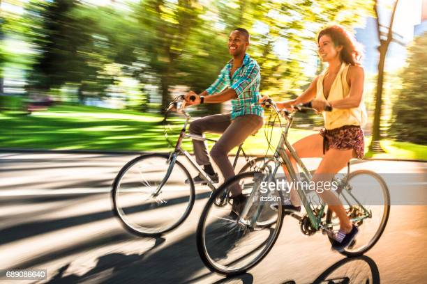 Riding bikes in Central Park, New York