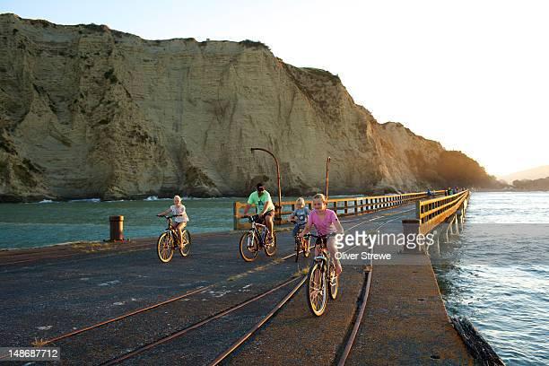 Riding bikes on the wharf.