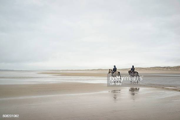 riding horses on empty beach at camber sands - camber sands stock photos and pictures