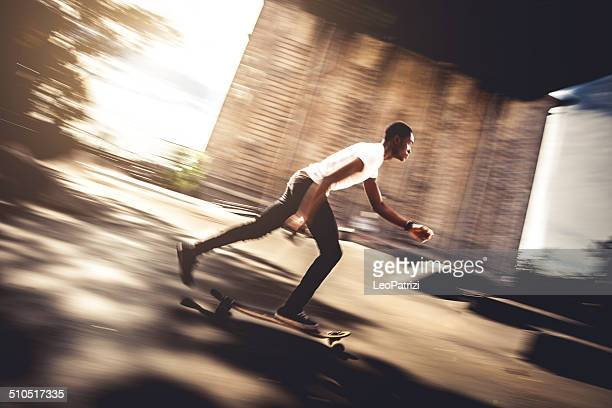 Riding longboard at the skate park in NYC