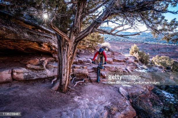 riding rocky steps - fruita colorado stock pictures, royalty-free photos & images