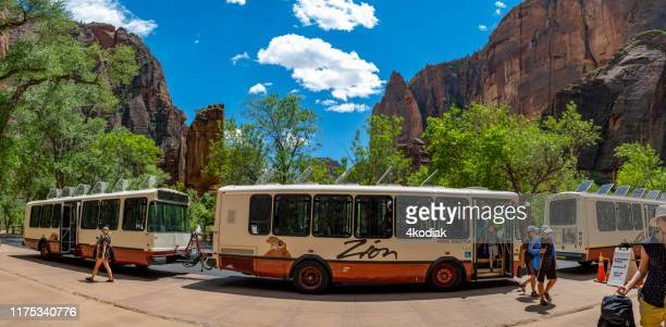 riding shuttle bus at zion national park in utah  usa - free of charge stock pictures, royalty-free photos & images