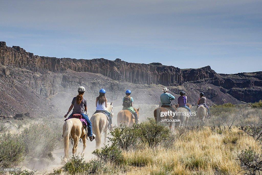 Riding to Dusty Lake : Stock Photo
