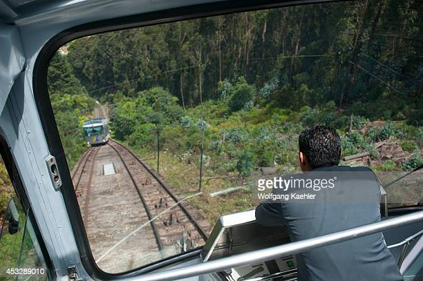 Riding up the Monserrate Hill with funicular Bogota Colombia