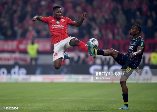 Ridle Baku of 1.FSV Mainz 05 during challenges Kingsley Ehizibue of 1. FC Koel in the Bundesliga match between 1. FSV Mainz 05 and 1. FC Koeln at...