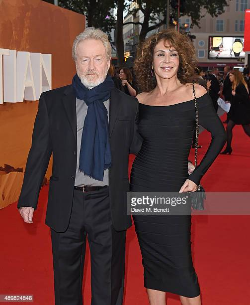"""Ridley Scott and Giannina Facio attend the European premiere of """"The Martian"""" at Odeon Leicester Square on September 24, 2015 in London, England."""
