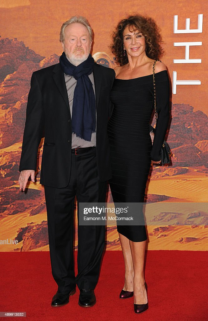 Ridley Scott and Giannina Facio attend the European premiere of 'The Martian' at Odeon Leicester Square on September 24, 2015 in London, England.