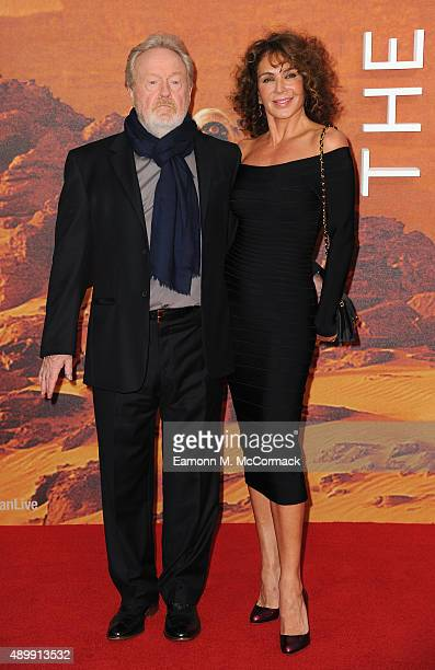 "Ridley Scott and Giannina Facio attend the European premiere of ""The Martian"" at Odeon Leicester Square on September 24, 2015 in London, England."