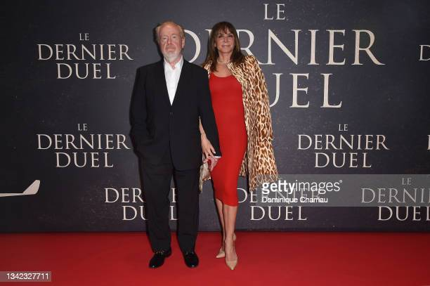 """Ridley Scott and Giannina Facio attend the French premiere of 20th Century Studios' """"The Last Duel"""" at cinema Gaumont Champs Elysees on September 24,..."""